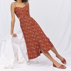 Madewell Cutout Cami Midi Dress in Warm Paisley, 0